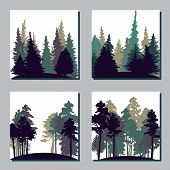 stock photo of redwood forest  - set of different landscapes with pine trees and fir - JPG