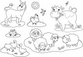 stock photo of donkey  - Set of coloring farm animals for children - JPG