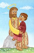 image of jesus  - Jesus with a young child sit on a rock - JPG