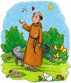 picture of wild-rabbit  - Illustration for kids of Saint Francis in a wood with wild animals - JPG