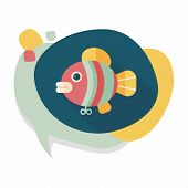 stock photo of long-fish  - Fish Toy Flat Icon With Long Shadow - JPG
