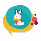 image of cony  - Rabbit Flat Icon With Long Shadow - JPG