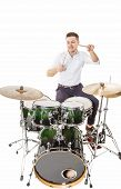 pic of drums  - Handsome guy behind the drum kit on a white background in shirt and trousers - JPG