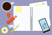 pic of pencil eraser  - Messy Study Desk Vector Illustration with cup of coffee - JPG