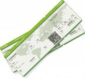 image of boarding pass  - Vector image of airline boarding pass ticket with QR2 code - JPG