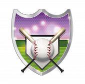 pic of baseball bat  - An illustration of a baseball bats home plate and baseball field inside an emblem - JPG