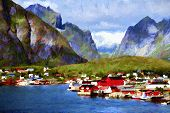 image of unique landscape  - Colorfull oil painting of scandinavian landscape - JPG