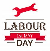 picture of labourer  - illustration of stylish text for Happy Labour Day in white background - JPG