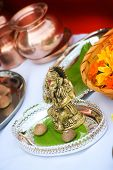 pic of hindu  - Hindu religion items ready for ritual of Mother Earth before building an object - JPG