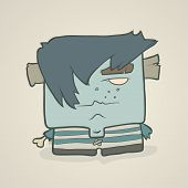 picture of vest  - Illustration cartoon boy zombie in a striped vest with protruding bone instead of a hand and plugs in his ears - JPG