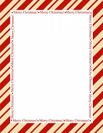 image of candy cane border  - Retro striped frame with red stripes with merry christmas letters - JPG