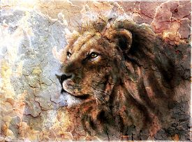 stock photo of lions-head  - beautiful painting of a lion head with a majestically peaceful expression desert pattern - JPG