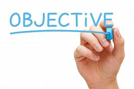 picture of objectives  - Hand writing Objective with blue marker on transparent wipe board - JPG
