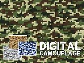 ������, ������: Four Different Colors Digital Camouflage Military Pattern For Background Clothing Textile Garment