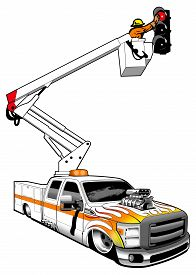 image of boom-truck  - A customized maintenance boom truck with blown engine and painted flames - JPG