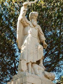 image of prophets  - statue of the prophet Elijah on Mount Caramel Muhraqa Israel - JPG