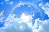 Sun Halo Over Blue Sky And Cloud As Background poster
