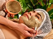 Mud facial mask of woman in spa salon. Massage with clay face in therapy room. Applying beautician w poster