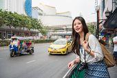 Asian Woman With Tuk Tuk Car In Thailand. poster