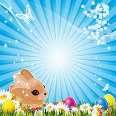 stock photo of pasqua  - Easter bunny and  Easter egg - JPG