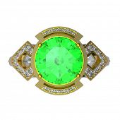 image of peridot  - 3d rendering of a peridot ring on white bacground - JPG
