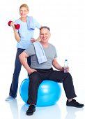 Постер, плакат: Тренажерный зал Фитнес здорового образа жизни Улыбающиеся люди На белом фоне