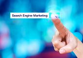 Finger Touch On Search Button With Search Bar And Search Engine Marketing Word At Blur Blue Backgrou poster