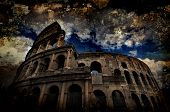 Grungy, textured effect on the Iconic, the legendary Coliseum of Rome, Italy