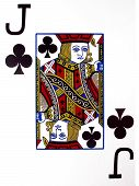 foto of playing card  - a jack of clubs over a white background - JPG