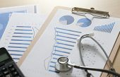 Financial Report Chart And Calculator Medical Report And Stethoscope poster