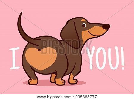 poster of Cute Smiling Dachshund Puppy Dog Vector Cartoon Illustration Isolated On Pink Background. Funny i L