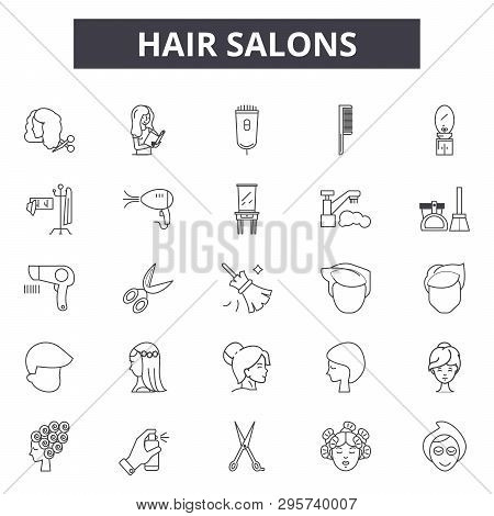 poster of Hair Salons Line Icons, Signs Set, Vector. Hair Salons Outline Concept, Illustration: Salon, Hair, B