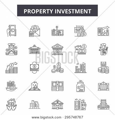 poster of Property Investment Line Icons, Signs Set, Vector. Property Investment Outline Concept, Illustration