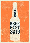 Beer Fest 2019 Typographical Vintage Style Grunge Poster. Retro Vector Illustration. poster