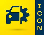 Blue Car Service Icon Isolated On Yellow Background. Auto Mechanic Service. Mechanic Service. Repair poster