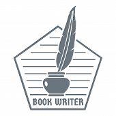 Book Writer Logo. Vintage Illustration Of Book Writer Logo For Web poster