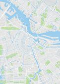Amsterdam City Plan, Detailed Vector Map Detailed Plan Of The City, Rivers And Streets poster