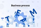 Business Template Team Metaphor Flat Banner. Vector Illustration Of People Working Together, Holding poster