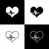 Set Heart Rate Icons Isolated On Black And White Background. Heartbeat Sign. Heart Pulse Icon. Cardi poster