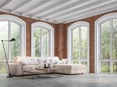 Loft Style Living Room 3d Render,there Are Concrete Floor,red Brick Wall And White Wooden Ceiling,fu poster