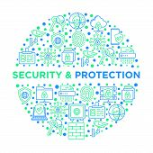 Security And Protection Concept In Circle With Thin Line Icons: Mobile Security, Fingerprint, Badge, poster
