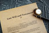 Notarys Public Pen And Stamp On Testament And Last Will. Notary Public poster