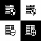Set Server With Shield Icons On Black And White Background. Protection Against Attacks. Network Fire poster