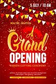Template For Advertising Poster Of Grand Opening And Ribbon Cutting Ceremony. Unusual And Bright Des poster