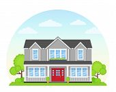 House Exterior Front View. Vector. Modern Cottage With Roof, Tree, Yard. Home Facade. Landscape Of N poster