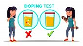 Doping, Drug Test Cartoon Vector Banner Template. Laboratory, Lab Doping Testing Isolated Clipart. S poster