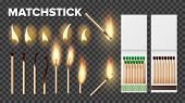 Burning Matches In Matchbooks, Flame Vector Set. Burnt Matches Stages Isolated Cliparts Pack. Wooden poster