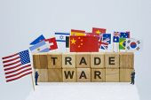 Trade War Wording With Usa China And Multi Countries Flags. It Is Symbol Of Tariff Trade War Crisis  poster