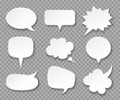 Paper Speech Bubbles. White Blank Thought Balloons, Shouting Box. Vintage Speech And Thinking Expres poster