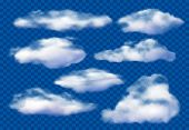 Realistic Clouds. Cloudy Sky, Fluffy Cloud And White Vapor Clouds Isolated 3d Vector Illustration Se poster